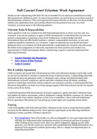 Event Volunteer Work Agreement