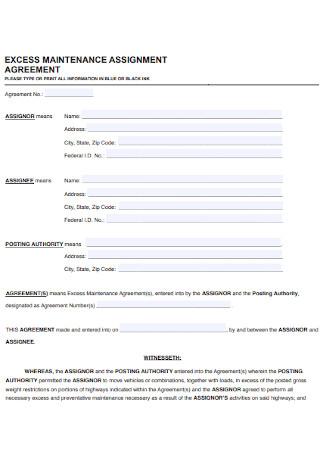 Excess Maintenance Assignment Agreement