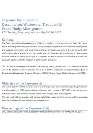 Exposure Visit Report