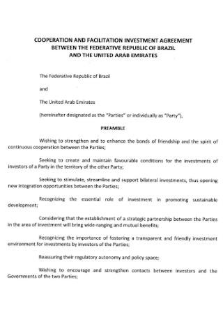 Facilitation Investment Agreement