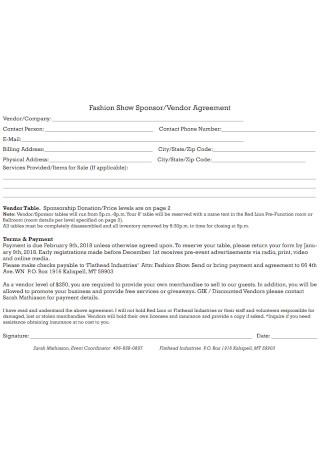 Fashion Show Sponsor Vendor Agreement