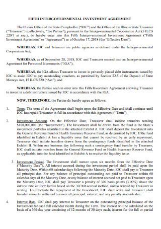 Fifth Intergovernamental Investment Agreement