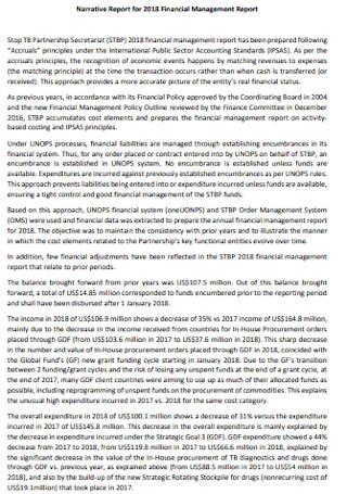 Financial Management Narrative Report