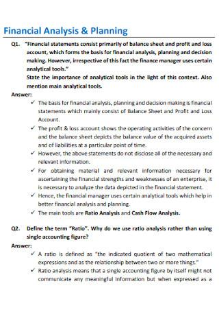 Financial Planning Analysis