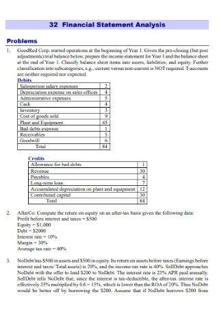 Financial Problem Statement Analysis