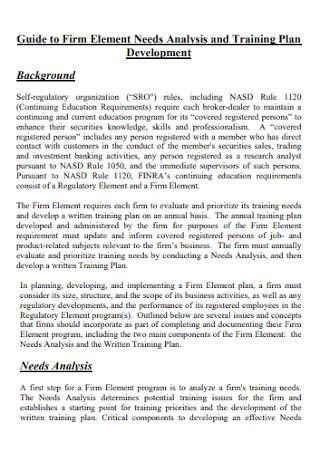 Firm Element Needs Analysis