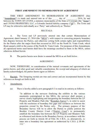 First Amendment to Memorandam of Agreement