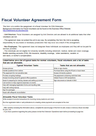 Fiscal Volunteer Agreement Form