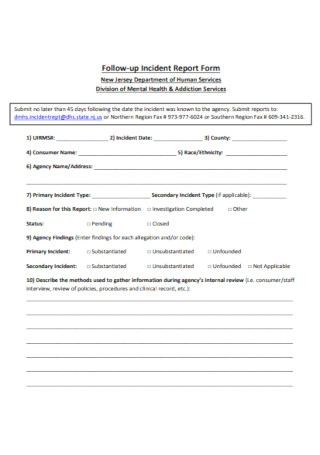 Follow up Incident Report Form
