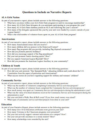 Formal Narrative Reports Template