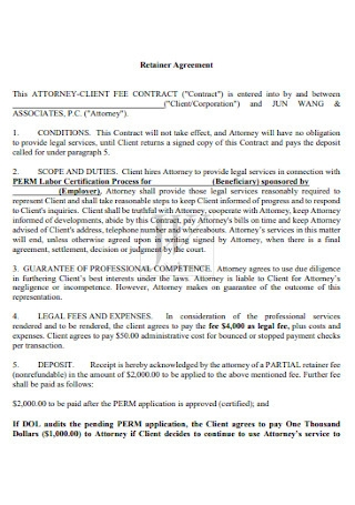 Formal Retainer Agreement Template