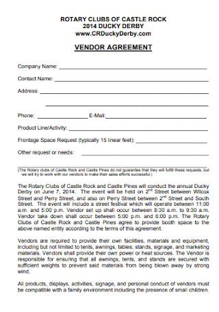 Formal Vendor Agreement Template