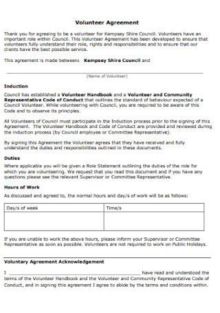 Formal Volunteer Agreement Template