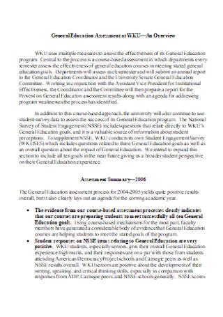 General Education Assessment Report