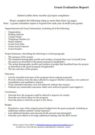 Grant Evaluation Report