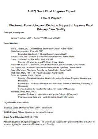 Grant Final Progress Report