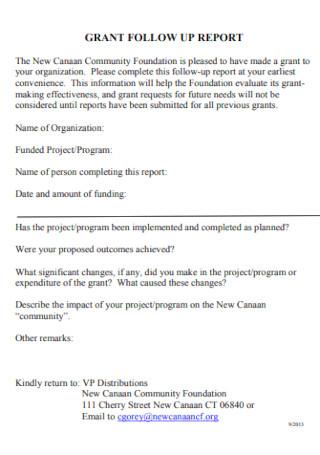 Grant Follow Up Report