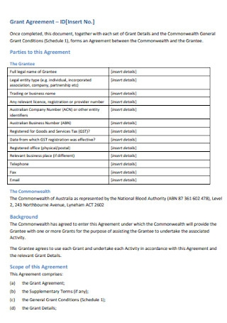 Grant Funding Agreement Template