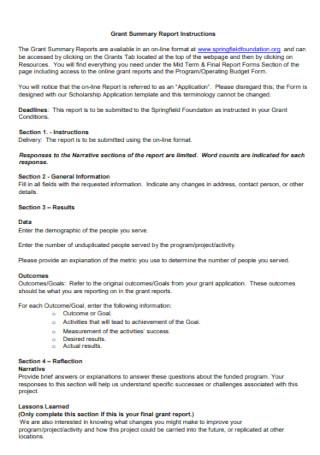 Grant Summary Report