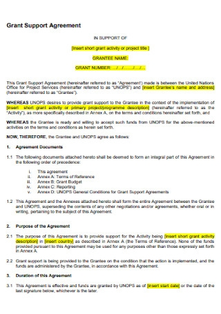 Grant Support Agreement