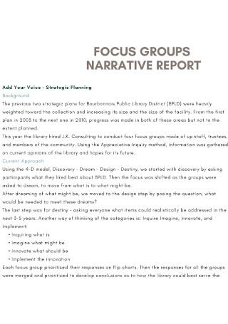Groups Narrative Report