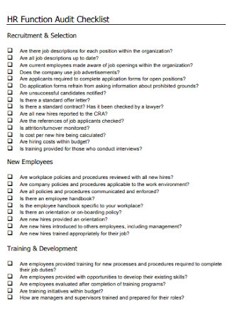 HR Function Audit Checklist