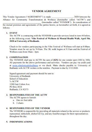 Health Vendor Agreement