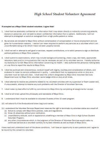 High School Student Volunteer Agreement