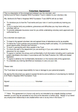 Hospital Volunteer Agreement Template