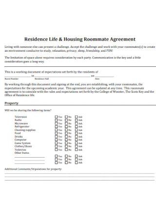 Housing Roommate Agreement