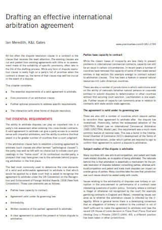 IInternational Arbitration Agreement