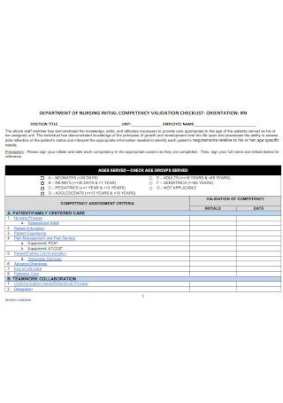 Initial Cometency Validation Checklist