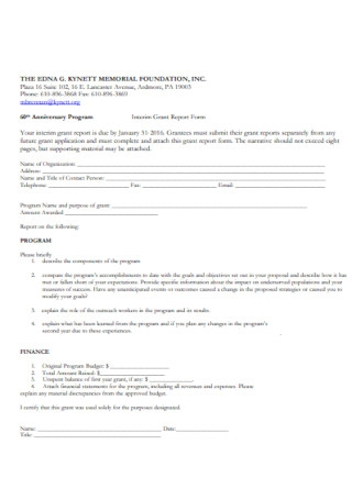 Interim Grant Report Form