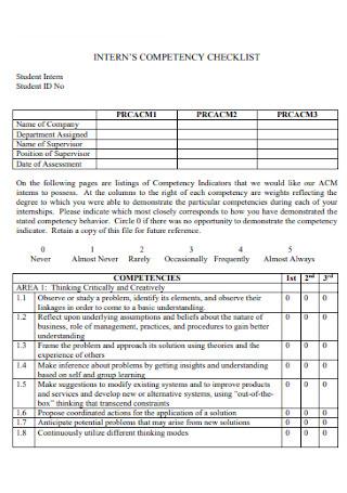 Interns Competency Checklist