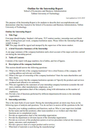 Internship Report Outline Template
