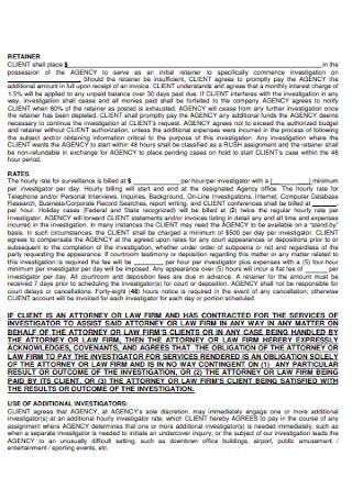 Investgative Service Retainer Agreement