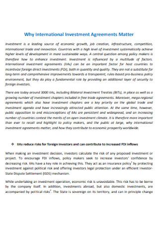Investment Matter Agreement