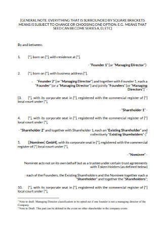 Investment Shareholders Agreement Example