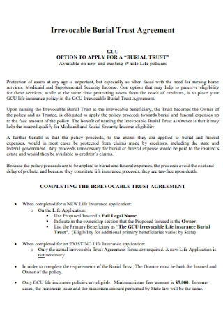 Irrevocable Burial Trust Agreement