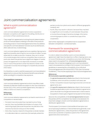 Joint Commercialisation Agreements