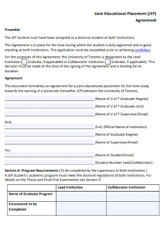 Joint Educational Placement Agreement