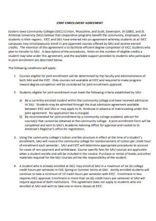 Joint Enrollment Agreement