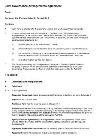 Joint Governance Arrangements Agreement