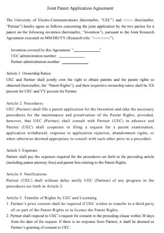 Joint Patent Application Agreement