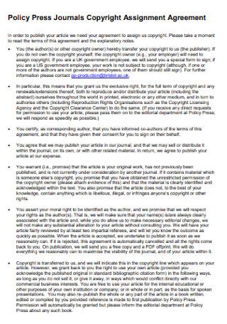 Journals Copyright Assignment Agreement