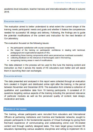 Laboratory Training Evaluation Report