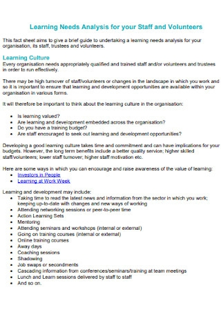 Learning Needs Analysis for Staff