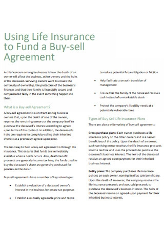 Life Insurance Fund a Buy sell Agreement