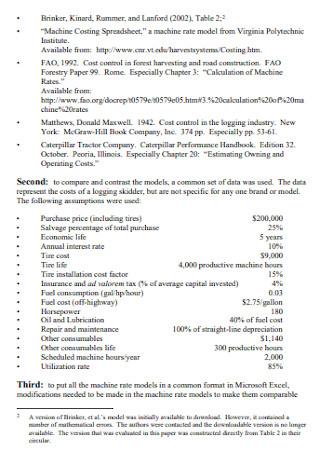 Machine Cost Analysis Template