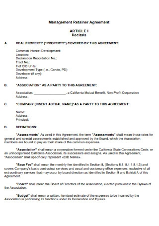Management Retainer Agreement
